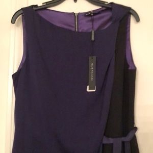 BNWT Elie Tahari Purple/Black Poly/Silk tie Dress